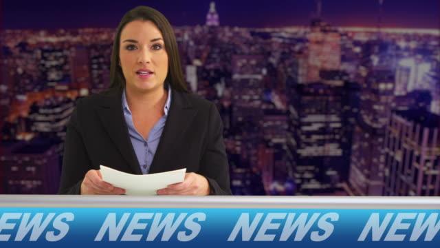 News reporter talking in studio video