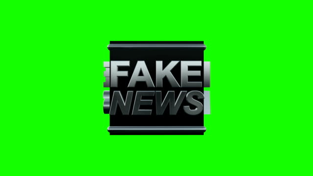 FAKE News Title Rotate in a Black Box on a Green Screen video