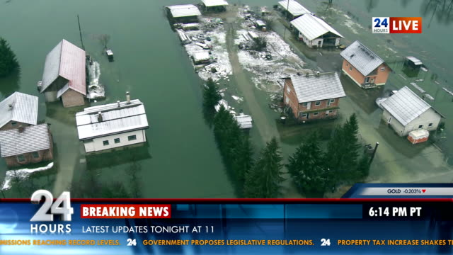 Newscast Reporting From Location Struck By Flood video