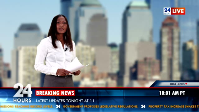 HD: Newscaster Reading Breaking Business News video