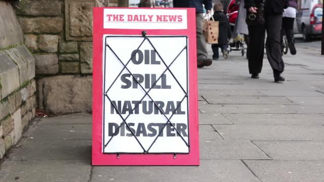 Newspaper Headline Baord - Oil Spill video