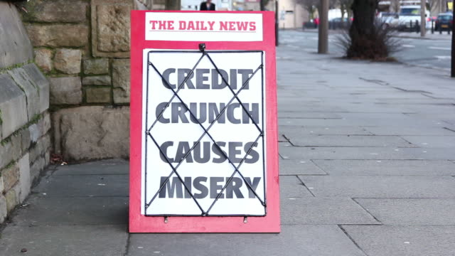 Newspaper headline Board - Credit Crunch causes misery video