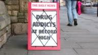 Newspaper Headline board - Drug Addicts at record high video