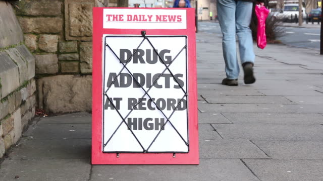 Newspaper Headline board - Drug Addicts at record high video