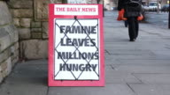 Newspaper Headline Board - Famine leaves millions hungry video