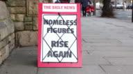 Newspaper Headline Board - Homeless figures rise again video