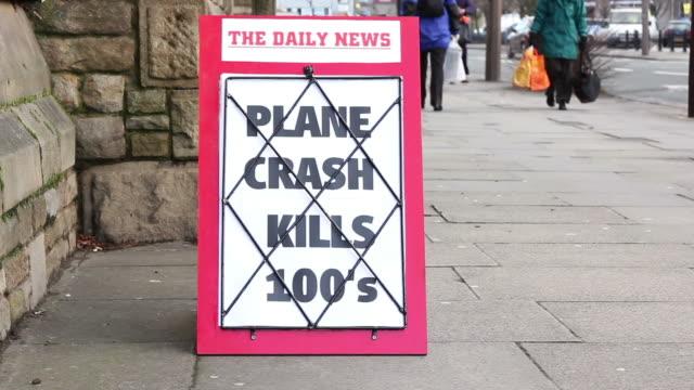 Newspaper Headline Board - Plane crash kills Hundreds video