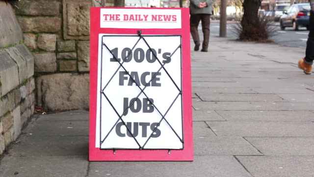 Newspaper Headline Board - Thousands face job cuts video