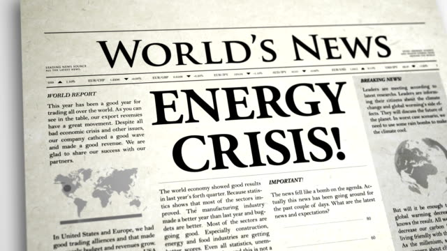 Newspaper Headline: Energy Crisis video