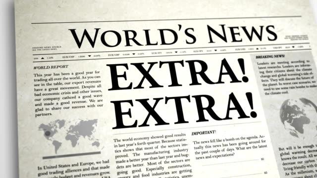 Newspaper Headline: Extra video