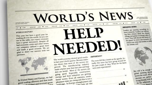 Newspaper Headline: Help Needed video