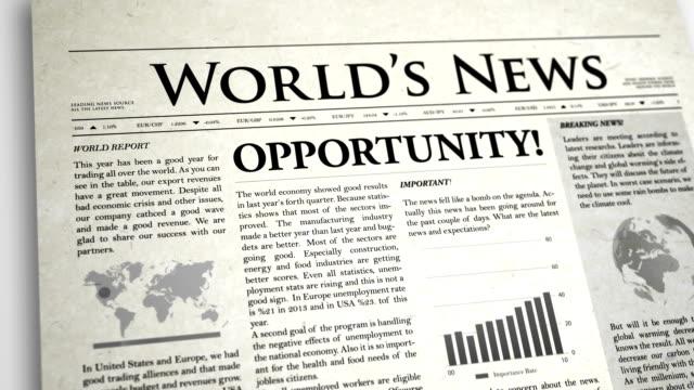 Newspaper Headline: Opportunity video