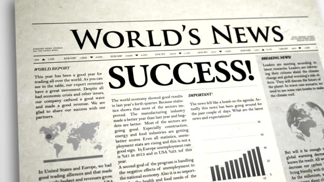 Newspaper Headline: Success video
