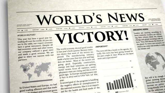 Newspaper Headline: Victory video