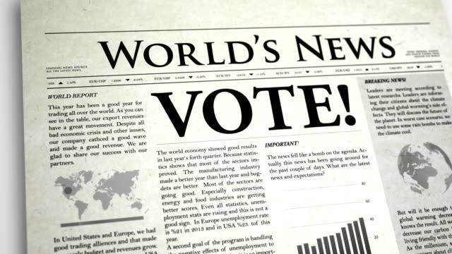 Newspaper Headline: Vote video