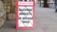 Newspaper Healine board - Alcohol addicts at record high video