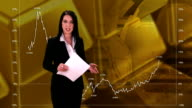 HD: Newsreader Giving Interactive Stock Exchange News video