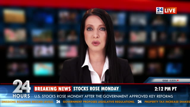 HD: Newsreader Giving The Stock Exchange News video