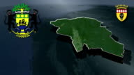 Ngounie - Mouila whit Coat of arms animation map video