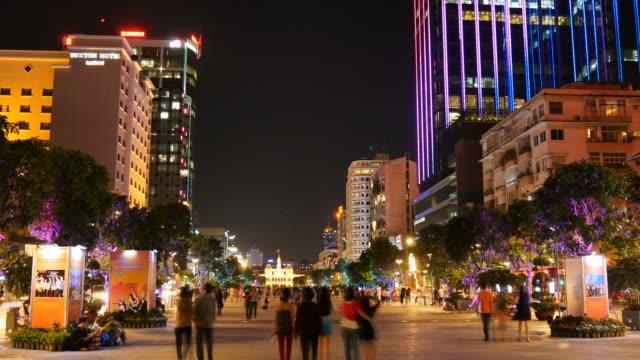 HO CHI MINH / SAIGON, VIETNAM - 2016: Nguyen Hue walking street city night video