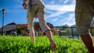 Nice day to walk barefoot on the grass video