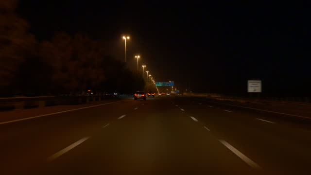 night abu dhabi road trip panorama 4k united arab emirates video
