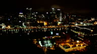 Night american city panorama cityscape video