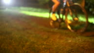 Night bicycle racers in FullHD. video