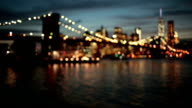 Night blurry view of the Brooklyn bridge video