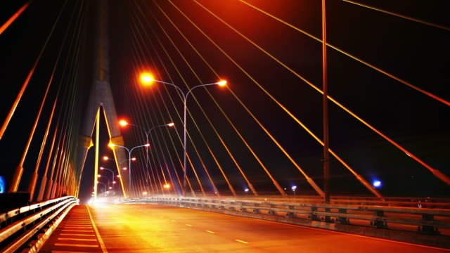Night bridge traffic video