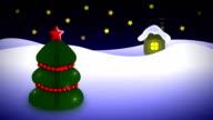 night christmas tree near house video