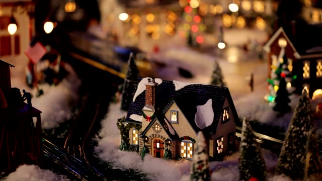 LOOPABLE Night Christmas Winter Wonderland Village Toy Train (Video) video