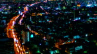 Night city aerial video