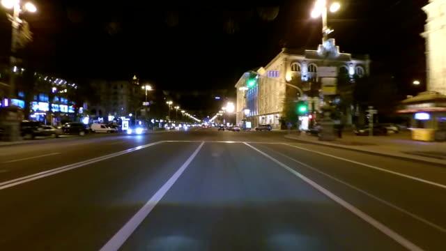 Night city streets timelapse video