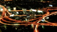 Night city traffic from top view video