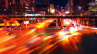 Night city traffic in town video