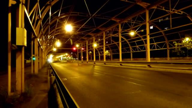 Night city traffic timelapse video