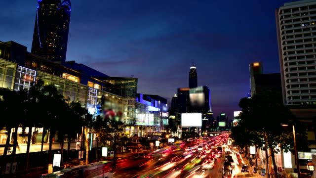 Night city traffic video