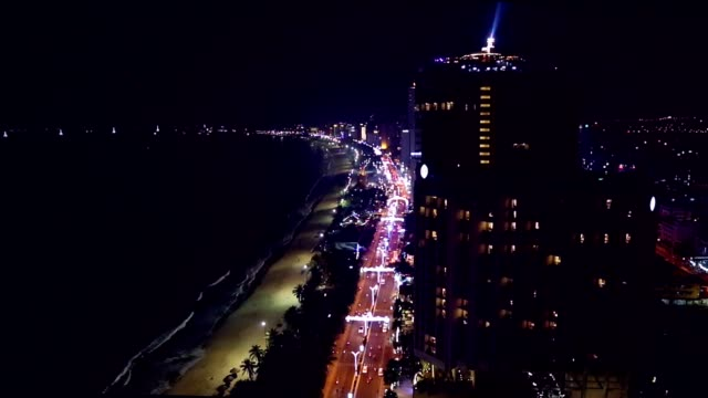 Night cityscape Asian megapolis aerial view. video