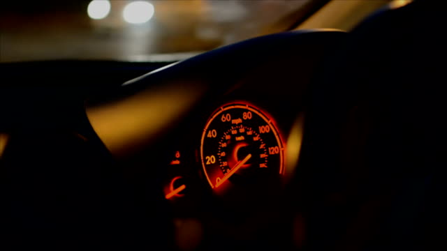Night Drive, dashboard and speedometer of car video