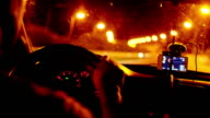 Night drive highway with navigation and dashboard video