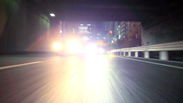 Night driving in Tokyo ,Rear View,timelapse video
