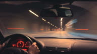 Night driving time-lapse video