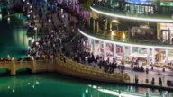 night dubai mall famous crowded fountain bay 4k time lapse united arab emirates video