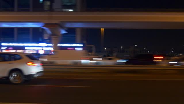 night dubai road trip side window panorama 4k united arab emirates video