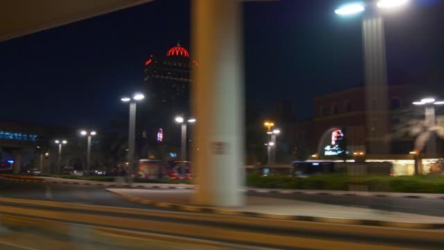 night dubai sheikh zayed road trip side window al barsha panorama 4k united arab emirates video