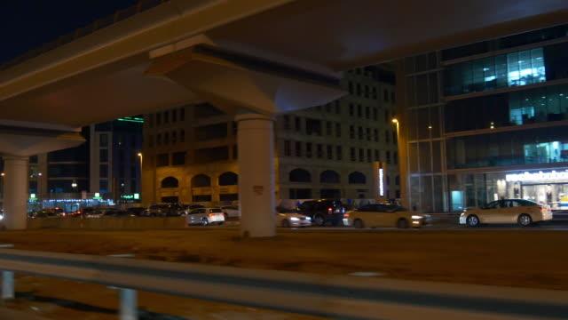 night dubai sheikh zayed road trip side window panorama 4k united arab emirates video