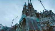 Night falls on Barcelona's Sagrada Familia video