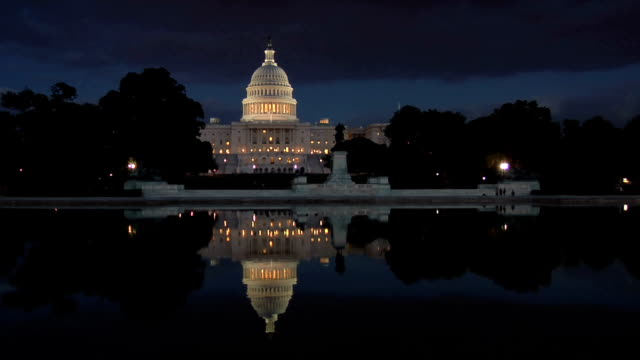 Night falls on the Capitol Building video