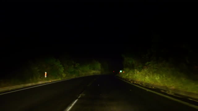 night fast drive on highway with mist after rain video